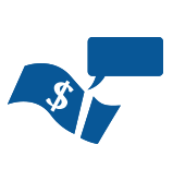 Icon of money in note format with speech bubble to represent Tax Advice services
