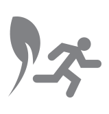 Icon of plant shoot and person running to represent exiting or closing a business