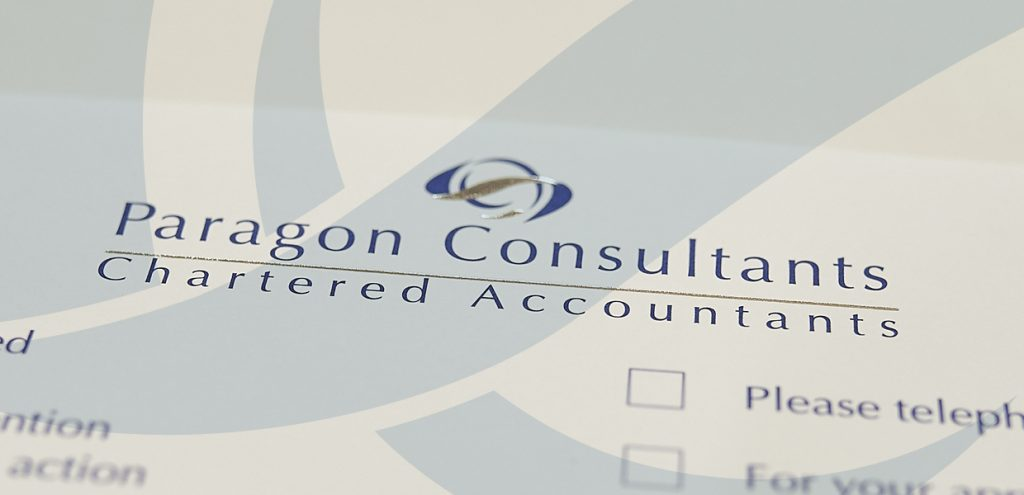 Close up of Paragon Consultants stationary to represent Accountancy Services