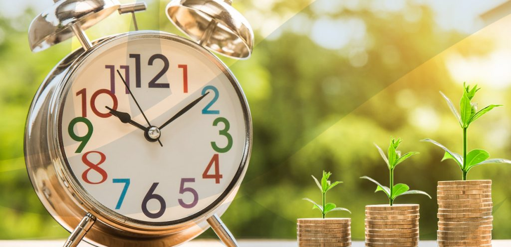 Alarm clock next to three rows of coins with plant shoots to represent Self Managed Superannuation Funds