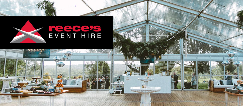 Large glass gazebo with Reece's Event Hire logo to accompany client testimonial